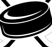 Hockey Mom Ice Hockey Logo with Puck and Sticks Sticker