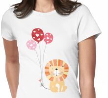 Holidays Cartoon Valentine's Day Lion Womens Fitted T-Shirt