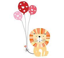 Holidays Cartoon Valentine's Day Lion Photographic Print
