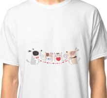 Cartoon Pets Valentine Cats and Dogs Classic T-Shirt