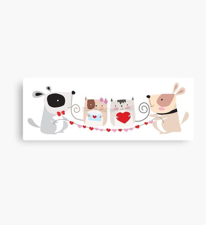 Cartoon Pets Valentine Cats and Dogs Canvas Print