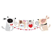 Cartoon Pets Valentine Cats and Dogs Photographic Print