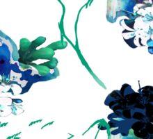 White & Blue Flowers Sticker