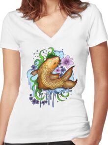 Koi Fish Women's Fitted V-Neck T-Shirt