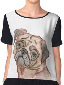 Cute Hand Painted Black Brown Watercolor Pug Dog Chiffon Top
