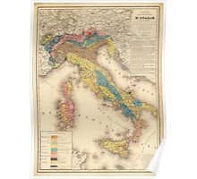 Geological Map of Italy by H. de Collegno (1844) Poster
