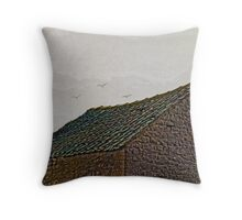 Birds over old roof abstract. Throw Pillow