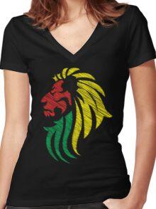 Lion Reggae Colors Cool Flag Vector Art  Women's Fitted V-Neck T-Shirt