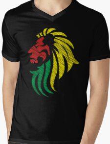 Lion Reggae Colors Cool Flag Vector Art  Mens V-Neck T-Shirt