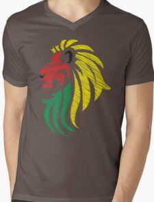 Lion Reggae Colors Cool Flag Vector Art  Mens V-Neck T-Shirt