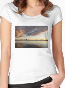 Boats and Clouds Summer Sunset Women's Fitted Scoop T-Shirt