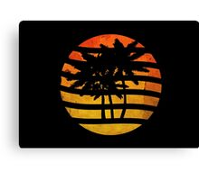 Palm Trees Grunge Sunset Canvas Print