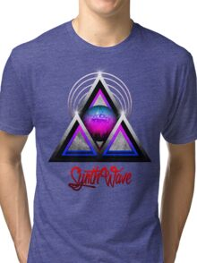 "Retro 80's Synthwave / New Retro Wave: Neon Nights (With ""SynthWave"" logo) Tri-blend T-Shirt"