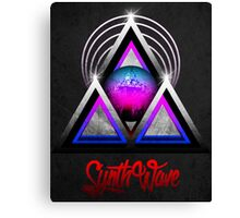 """Retro 80's Synthwave / New Retro Wave: Neon Nights (With """"SynthWave"""" logo) Canvas Print"""