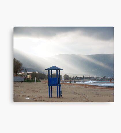 Lifeguard Tower - Potamos Beach, West Crete Canvas Print