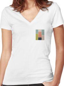 Color blocks Women's Fitted V-Neck T-Shirt