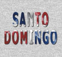 Santo Domingo Word With Flag Texture One Piece - Short Sleeve