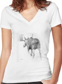 Moose Departing Women's Fitted V-Neck T-Shirt