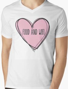 Food And Wifi Is Love Mens V-Neck T-Shirt