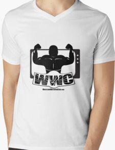 Wrestling Watching Club Glass Shatter BW Logo Mens V-Neck T-Shirt