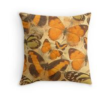 Orange Butterfly Collage Throw Pillow