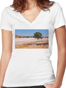 Tree in Field  Women's Fitted V-Neck T-Shirt