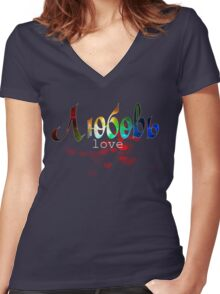 Russian word love любовь black & dark background, romantic design Women's Fitted V-Neck T-Shirt