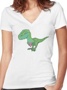 I-love-u-saurus Rex Women's Fitted V-Neck T-Shirt