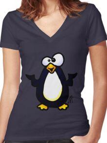 Pondering Penguin Women's Fitted V-Neck T-Shirt
