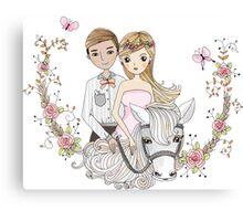 Beautiful Wedding Newlywed Bride Groom Horse Canvas Print