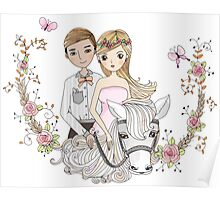 Beautiful Wedding Newlywed Bride Groom Horse Poster