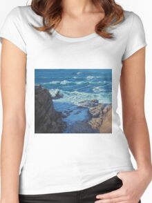Ebb and Flow Seascape Women's Fitted Scoop T-Shirt
