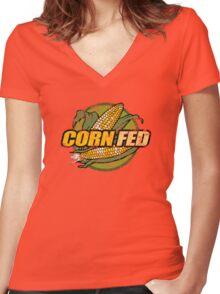 Corn Fed T Shirt, vintage, retro Women's Fitted V-Neck T-Shirt