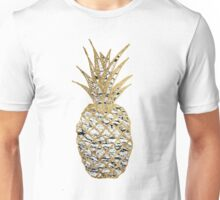 Modern Chic Marble Gold Pineapple Fruit Unisex T-Shirt