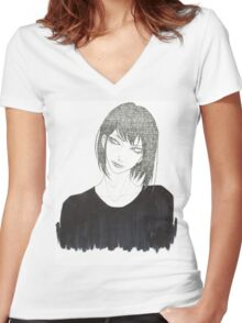 •Haku• Women's Fitted V-Neck T-Shirt