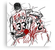 "Scottie Pippen and Michael Jordan ""Flu Game"" Canvas Print"