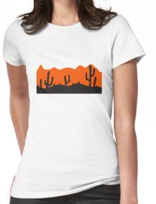 desert evening night sunset sunrise kakten cactus hot hot Womens Fitted T-Shirt