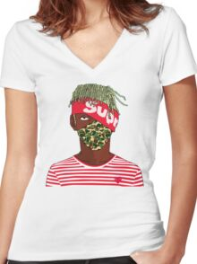 Lil Kakashi Uzi Women's Fitted V-Neck T-Shirt