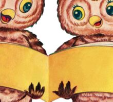Two owls reading book Sticker