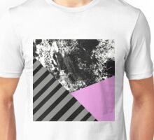 Mix Up - Abstract Black and White, block pink, balck and grey stripes Unisex T-Shirt