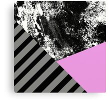 Mix Up - Abstract Black and White, block pink, balck and grey stripes Canvas Print