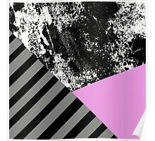 Mix Up - Abstract Black and White, block pink, balck and grey stripes Poster