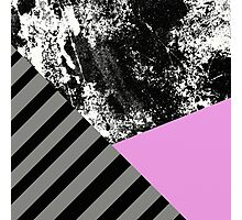 Mix Up - Abstract Black and White, block pink, balck and grey stripes Photographic Print