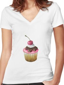 Cupcake with Pink Icing, Chocolate, Cherry on Top Women's Fitted V-Neck T-Shirt