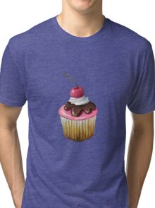 Cupcake with Pink Icing, Chocolate, Cherry on Top Tri-blend T-Shirt