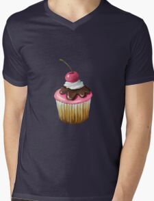 Cupcake with Pink Icing, Chocolate, Cherry on Top Mens V-Neck T-Shirt