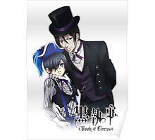 black butler sebastian with a top hat ciel dressedup Poster