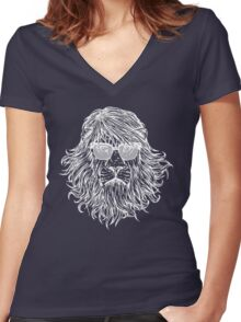 LION WITH GLASSES LAST MAN ON EARTH Tandy Phil Miller Women's Fitted V-Neck T-Shirt
