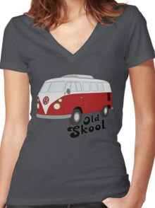Old-Skool Women's Fitted V-Neck T-Shirt
