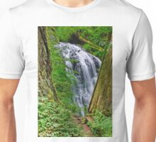 Waterfall and Green Vegetation Framed by Trees Unisex T-Shirt